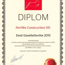 FERRMIX CONSTRUCTION OÜ have been recognised as the Gasell Company 2015 in Estonia. This nomination awarded to the companies which have over 50% grow in revenue and profit during last three years and significantly increased the number of employees.