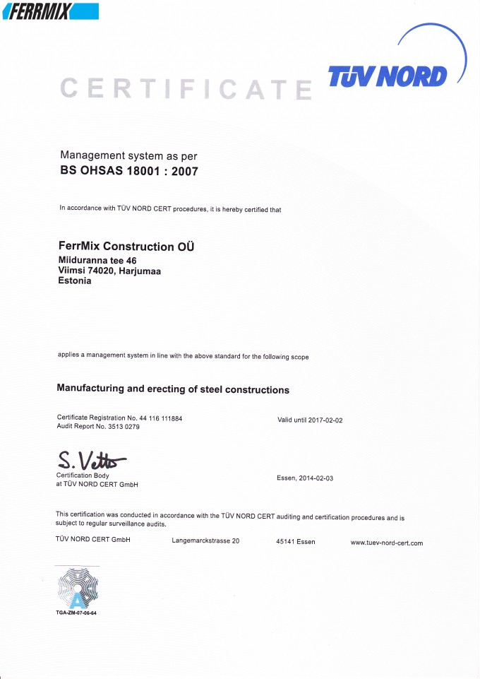 Quality and certification ferrmix construction conveying ferrmix construction o ohsas 18001 2007 yelopaper Choice Image