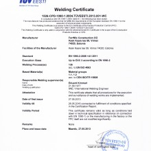 FERRMIX CONSTRUCTION OÜ Welding certificates EN 1090-1 EXC3